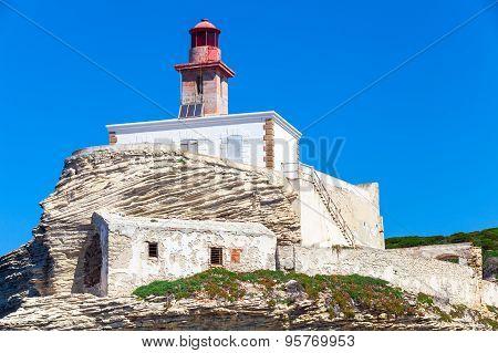 La Madonetta Lighthouse. Bonifacio Port, Corsica
