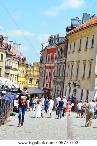 Tourists in a street of Lublin, Poland
