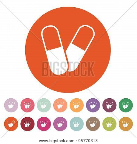 The Pill Icon. Tablet And Antibiotic, Vitamins Symbol. Flat