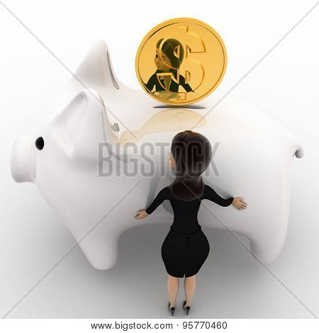 3D Woman With Big White Piggybank Concept