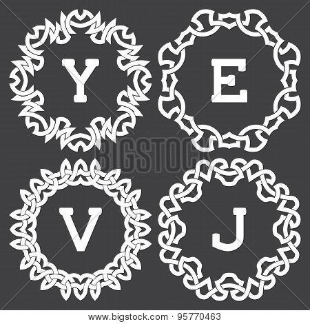 Set of fashion monogram frames design in celtic knots style