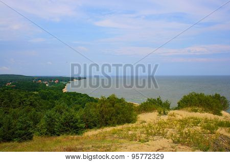 the dunes on the Baltic sea background