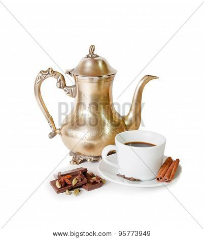 Coffee Pot, Cup Of Coffee With Spices And Pieces Of Chocolate Isolated On White