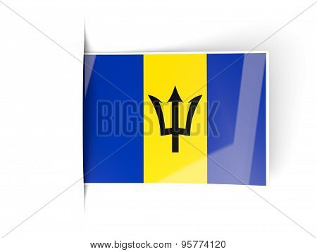 Square Label With Flag Of Barbados