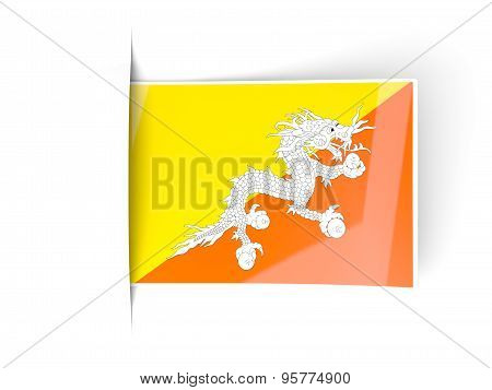 Square Label With Flag Of Bhutan