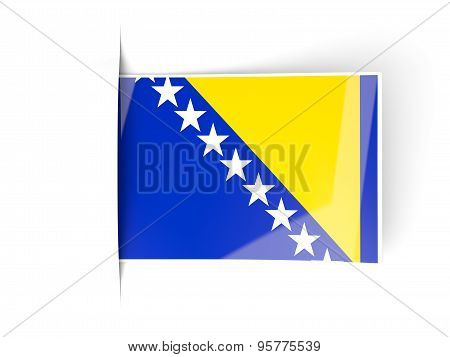 Square Label With Flag Of Bosnia And Herzegovina