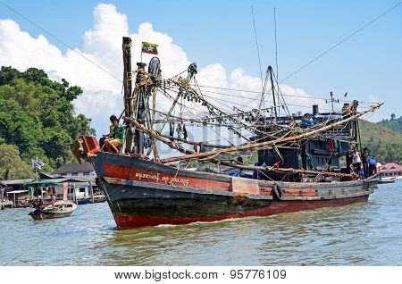 Myanmar Fishing Boat In Thai Sea Near Ranong Fish Market.