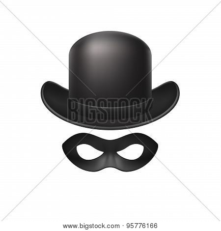 Bowler hat and eye mask in black design