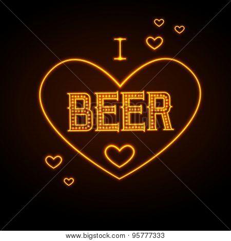 Neon Sign. I Love Beer