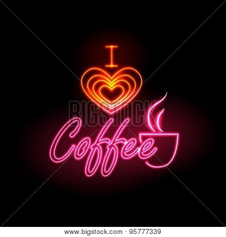 Neon Sign. I Love Coffee