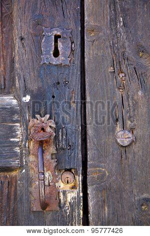 Knocker Spain Castle Lock  Lanzarote Abstract Door Wood In The    Brown