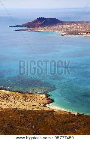 Miramar Del Rio Harbor Rock Stone Sky Cloud   In Lanzarote Spain Graciosa