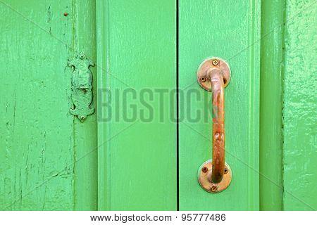 Spain   Brass Knocker  Abstract Door Wood In The Green