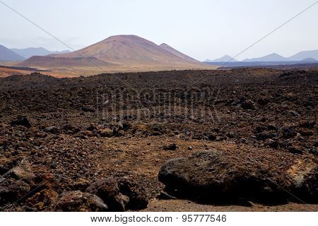 Volcanic  Lanzarote  Spain  Timanfaya  Rock  Sky  Hill And Summer
