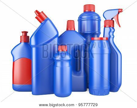 Set Of Blue Bottles With Detergents