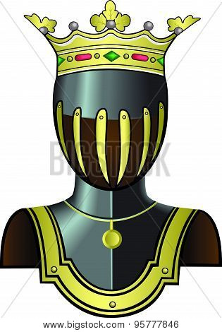 Medieval knight head in helmet.