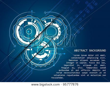 Abstract technology vector background gear wheels pattern, vector illustration