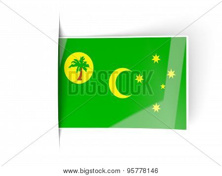 Square Label With Flag Of Cocos Islands