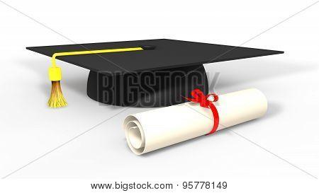 3d graduation cap and degree