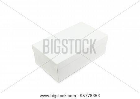 White Shoe Box On White Background With Clipping Path.