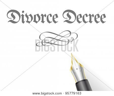illustration of a Divorce Decree Letter with fountain pen