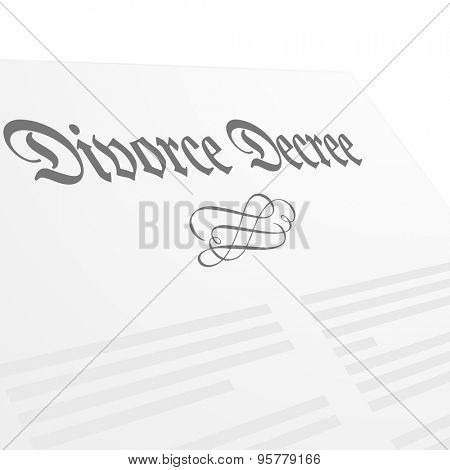 detailed illustration of a Divorce Decree letter, eps10 vector