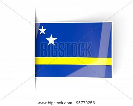 Square Label With Flag Of Curacao