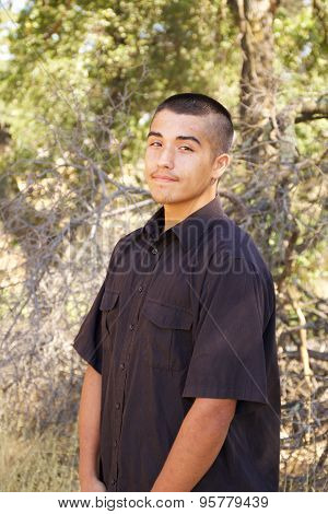 Smiling American Indian Teenage Boy Portrait