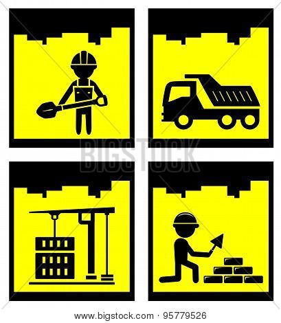 set construction yellow icons set