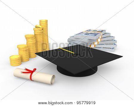 3d educational money concept