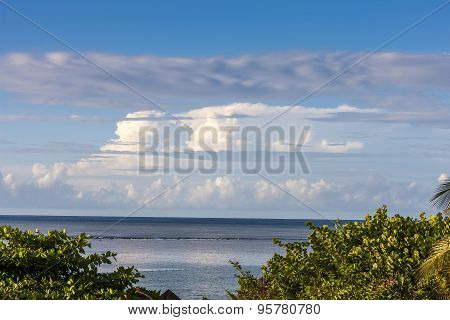 Beach on tropical island. Clear blue water and sky