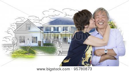 Attractive Affectionate Senior Chinese Couple In Front of House Sketch Photo Combination on White.