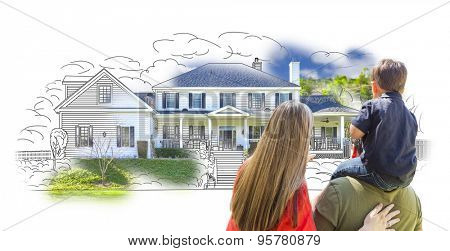Young Family Facing House Drawing and Photo Combination on White.