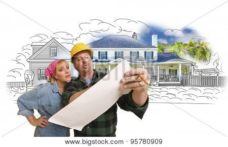 Woman Talking with Contractor Over House Drawing and Photo Combination on White.
