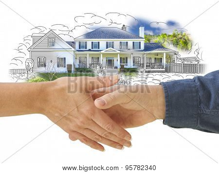 Man and Woman Shaking Hands in Front of a New House Drawing Photo Combination.