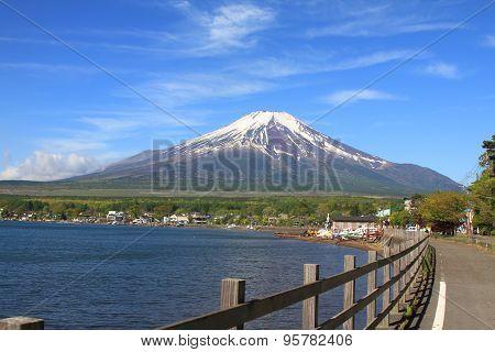 Beautiful Mt.Fuji mountain with clear blue sky from Lake Yamanakako, Japan