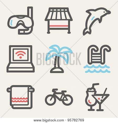 Vacation web icons, square buttons