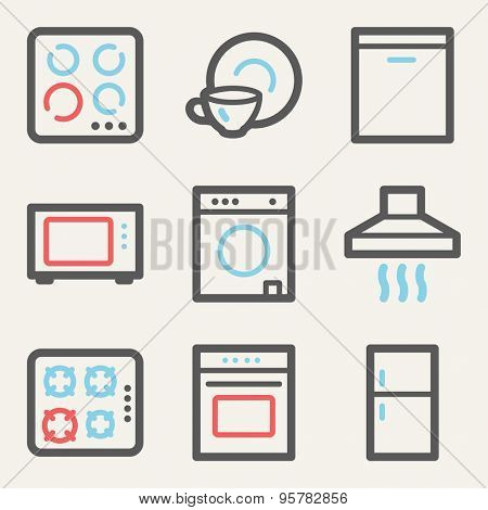 Home appliances web icons, square buttons
