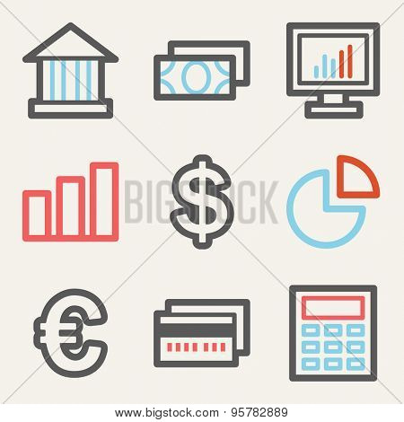 Finance web icons, square buttons