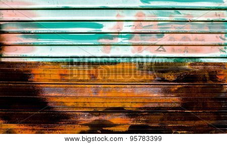 Old zinc. rusty corrugated metal wall