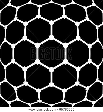 Geometric latticed hexagons pattern. Abstract textured background. Vector art.