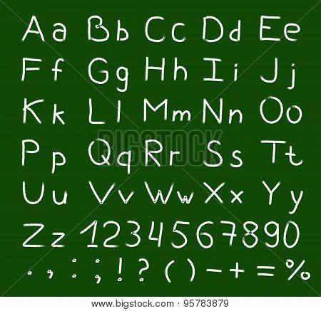 Alphabet written on a blackboard with white chalk vector.