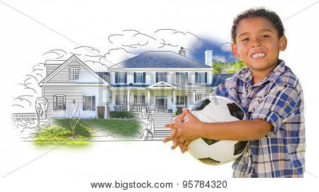 Young Mixed Race Boy Holding Soccer Ball Over House Drawing and Photo Combination on White.