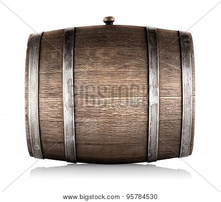Wooden barrel lying on its side
