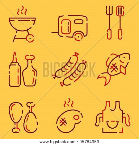 Bbq Line Icons Set On A Yellow Background