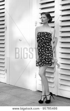 Bw Shot Of Fashion Girl In Summertime