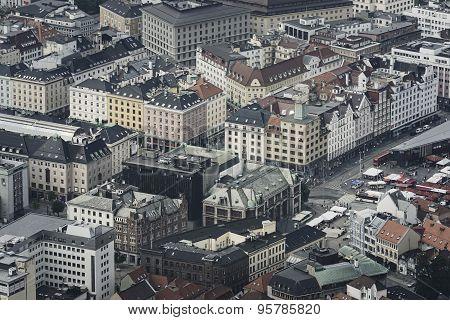 Aerial view of Bergen city in Norway