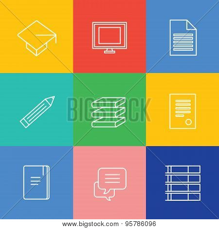 Education vector logo icons set. Graduation, school and science symbols. Stock design elements