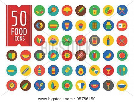 Food Icons Vector Set. Fruit, Kitchen and Drinks symbols. Stock design element.