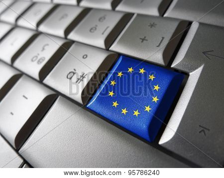 European Union Eu Flag Computer Key